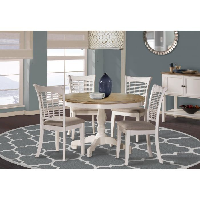 BAYBERRY WHITE ROUND TABLE  4 SIDE CHAIRS WHITE